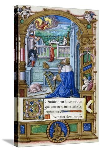 King David with a Harp, from a Book of Hours Made for Francois I, C.1532-1540--Stretched Canvas Print
