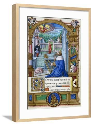 King David with a Harp, from a Book of Hours Made for Francois I, C.1532-1540--Framed Art Print