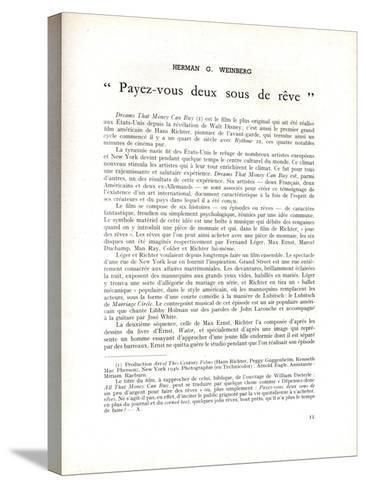 Page About 'Dreams That Money Can Buy' by Hans Richter, in 'La Revue Du Cinéma', 1947--Stretched Canvas Print