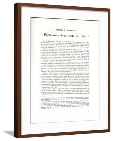 Page About 'Dreams That Money Can Buy' by Hans Richter, in 'La Revue Du Cinéma', 1947--Framed Art Print