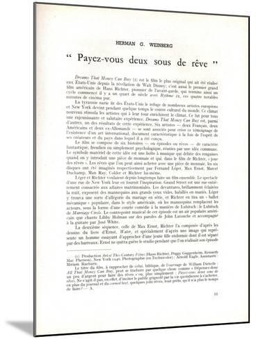 Page About 'Dreams That Money Can Buy' by Hans Richter, in 'La Revue Du Cinéma', 1947--Mounted Giclee Print