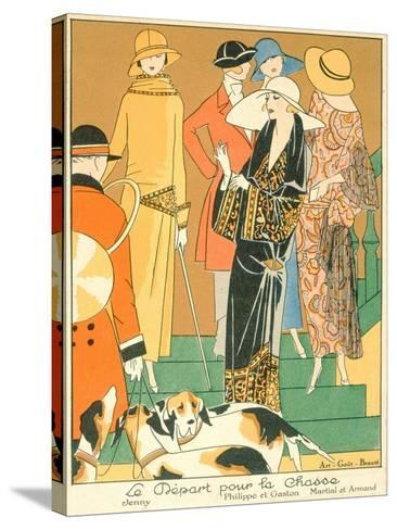 The Departure of the Hunt, Fashion Plate from 'Art, Gout, Beaute', Pub. Paris, 1920'S--Stretched Canvas Print