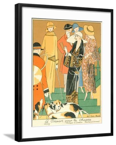 The Departure of the Hunt, Fashion Plate from 'Art, Gout, Beaute', Pub. Paris, 1920'S--Framed Art Print