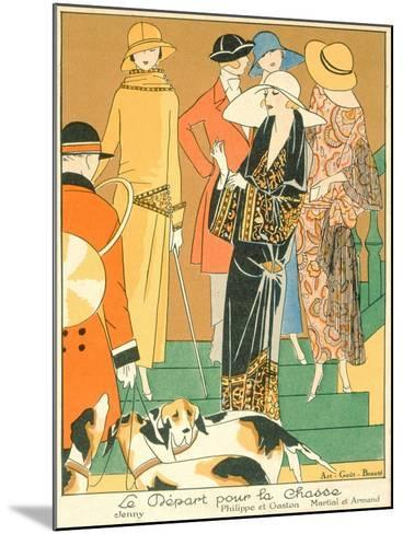 The Departure of the Hunt, Fashion Plate from 'Art, Gout, Beaute', Pub. Paris, 1920'S--Mounted Giclee Print