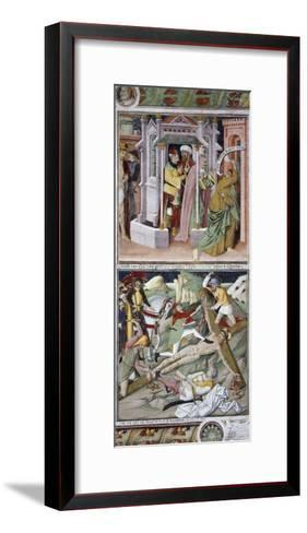 Remorse of Judas and Crucifixion-Giovanni Canavesio-Framed Art Print