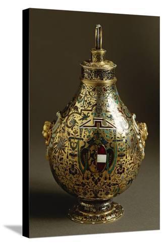 Enamelled Gold Flask with Salzburg Coat of Arms and Archbishop Wolf Dietrich Von Raitenau's Emblem-Hans Karl-Stretched Canvas Print