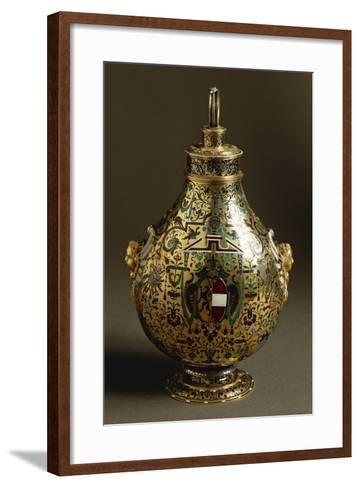 Enamelled Gold Flask with Salzburg Coat of Arms and Archbishop Wolf Dietrich Von Raitenau's Emblem-Hans Karl-Framed Art Print