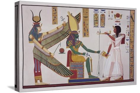 Ramesses Iv in Front of God Ptah-Sokari-Osiris-Ippolito Rosellini-Stretched Canvas Print