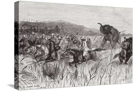 Elephant Hunters in the 19th Century Being Charged by an Elephant--Stretched Canvas Print