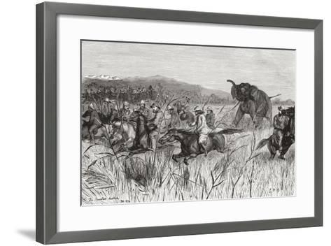 Elephant Hunters in the 19th Century Being Charged by an Elephant--Framed Art Print