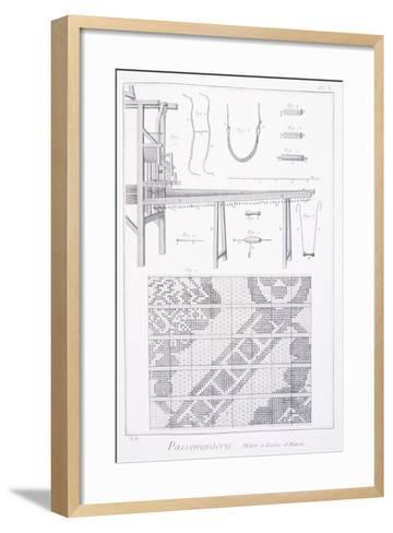 Trimmings, Plate Showing Ribbon Making Loom and Pattern from Denis Diderot--Framed Art Print