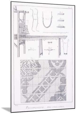 Trimmings, Plate Showing Ribbon Making Loom and Pattern from Denis Diderot--Mounted Giclee Print