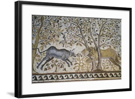 Lion Attacking a Buffalo--Framed Art Print