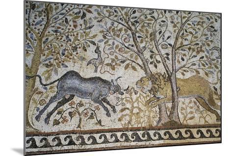 Lion Attacking a Buffalo--Mounted Giclee Print