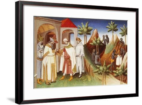 King of Lar Buying Pearls--Framed Art Print