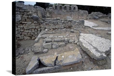 Sarcophagi in the Early Christian Basilica in Ampurias--Stretched Canvas Print