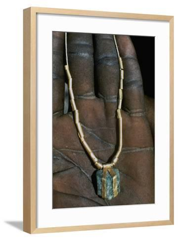Gold Necklace with Emerald Pendant at Base--Framed Art Print