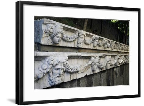 Marble Frieze with Male Heads and Fruit Garlands--Framed Art Print