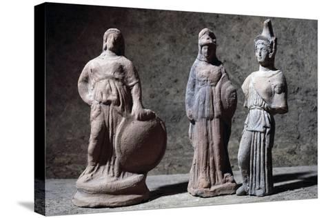 Votive Statuettes in Terracotta Depicting Athena--Stretched Canvas Print