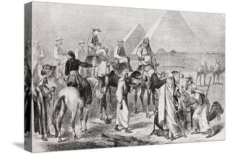Victorian Tourists at the Pyramids of Giza--Stretched Canvas Print