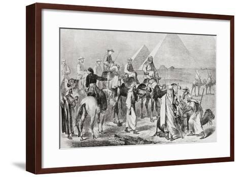 Victorian Tourists at the Pyramids of Giza--Framed Art Print