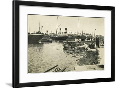 Dock in Mesina Port Destroyed by Earthquake--Framed Art Print