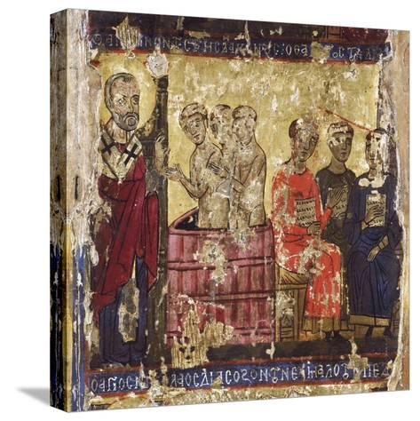 St Nicholas Baptising the First Christians with the Common Rite--Stretched Canvas Print