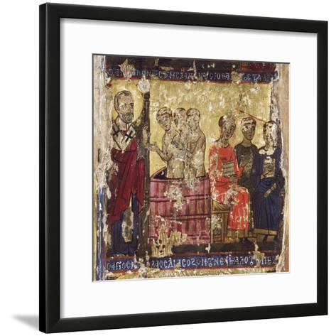 St Nicholas Baptising the First Christians with the Common Rite--Framed Art Print