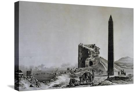 View of Obelisk of Cleopatra in Alexandria from Description of Egypt--Stretched Canvas Print
