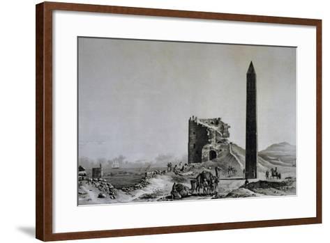 View of Obelisk of Cleopatra in Alexandria from Description of Egypt--Framed Art Print