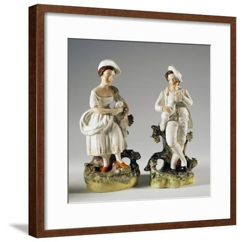 Pair of Shepherds with Lambs in their Arms--Framed Art Print