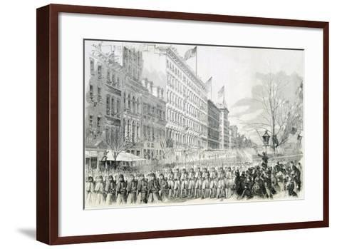 The Seventh Regiment Leaving for the Front Crossing Broadway in New York from Harper's Weekly--Framed Art Print