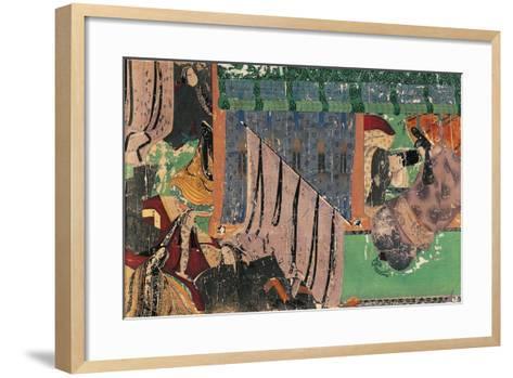 Kashiwaga Mlato Receiving Yugiri from the Emakimono of Genji Monogatari--Framed Art Print