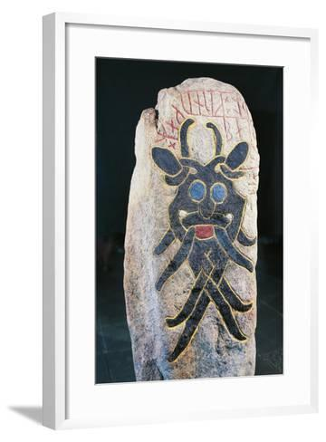 Runic Stone with Polychrome Relief Depicting Mask of Grimacing Divinity--Framed Art Print
