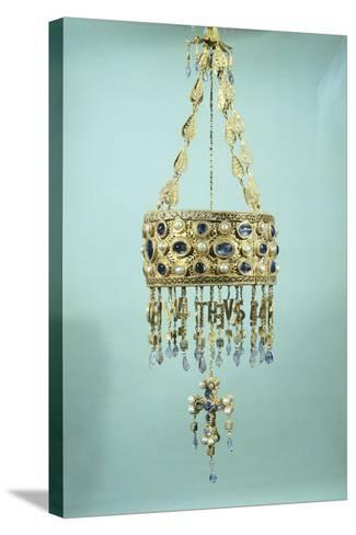 Votive Crown in Gold and Precious Stones from the Treasure of Guarrazar--Stretched Canvas Print