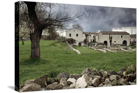 Rustic Farmhouses Incorporating Stones from the Near Ancient Roman City of Saepinum--Stretched Canvas Print