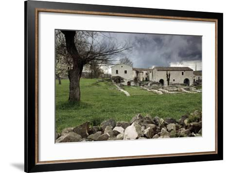 Rustic Farmhouses Incorporating Stones from the Near Ancient Roman City of Saepinum--Framed Art Print