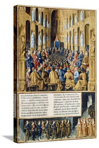 Urban II at Council of Clermont Announcing First Crusade in 1095--Stretched Canvas Print