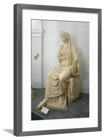 Roman Civilization Statue of Seated Livia Portrayed as Ceres from Roselle--Framed Art Print