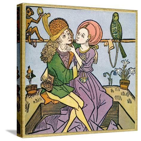 Lovers in the Middle Ages. from Illustrierte Sittengeschichte Vom Mittelalter Bis Zur Gegenwart--Stretched Canvas Print