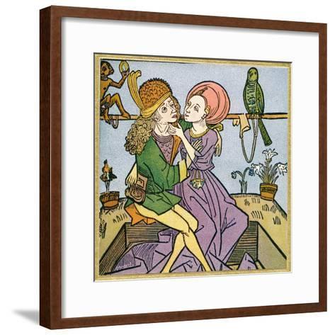 Lovers in the Middle Ages. from Illustrierte Sittengeschichte Vom Mittelalter Bis Zur Gegenwart--Framed Art Print