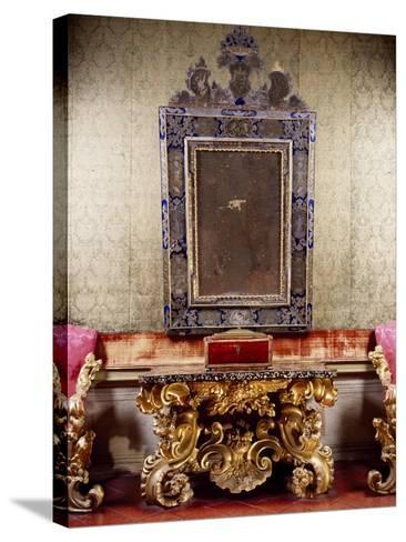 Glimpse of Nuptial Chamber with Gilt and Carved Wood Table with Scrolls Depicting Eagle-Anzolo Busi-Stretched Canvas Print