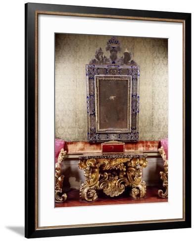Glimpse of Nuptial Chamber with Gilt and Carved Wood Table with Scrolls Depicting Eagle-Anzolo Busi-Framed Art Print
