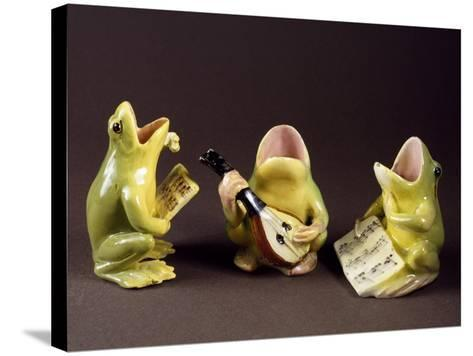 Three Frogs Singing and Playing Music-Jerome Massier Pere-Stretched Canvas Print