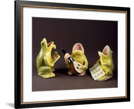 Three Frogs Singing and Playing Music-Jerome Massier Pere-Framed Art Print