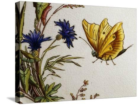 Serving Plate Decorated with Flowers and Butterflies, Ceramic--Stretched Canvas Print