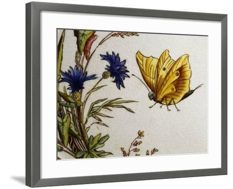 Serving Plate Decorated with Flowers and Butterflies, Ceramic--Framed Art Print