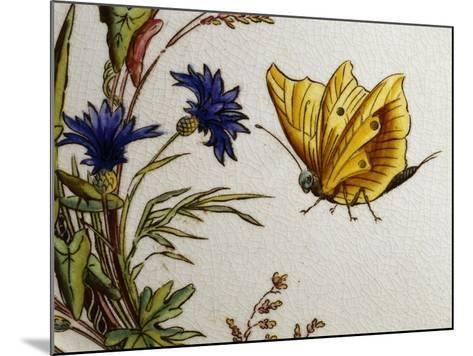 Serving Plate Decorated with Flowers and Butterflies, Ceramic--Mounted Giclee Print