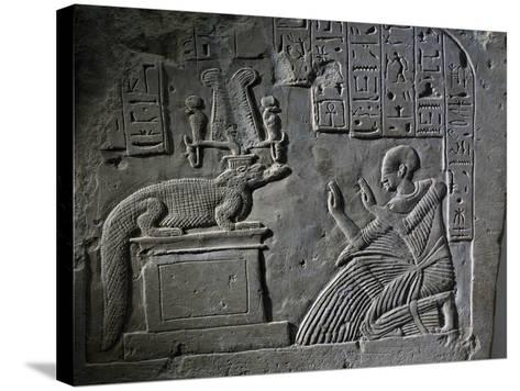 Stele of Aamerout in Prayer before God Sebek-Re, Limestone--Stretched Canvas Print