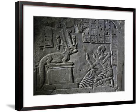 Stele of Aamerout in Prayer before God Sebek-Re, Limestone--Framed Art Print